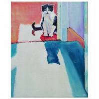Original acrylic cat painting - 'At the top of the stairs'