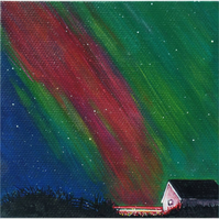OOAK orignal miniature painting - Northern lights and tail lights