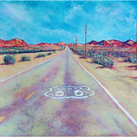 Original art - 'On the road again' - Route 66 Landscape painting.