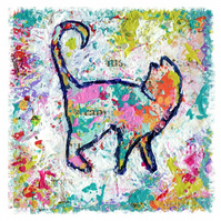 Art print of mixed media, colourful, contemporary cat, whimsical animal art prin