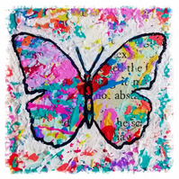 Art print of mixed media, colourful, contemporary butterfly, whimsical art print