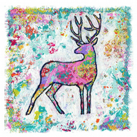 Art print of Mixed media, colourful, contemporary stag, deer, wildlife art print