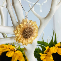 Sunflower handpainted pendant with a sterling silver 18 inch chain.
