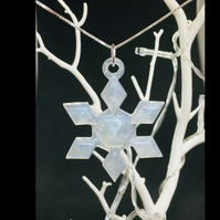 Snowflake large pendant with sterling silver chain.
