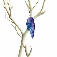 Angel wing feather purple and blue pendant and chain