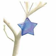 Star necklace hand painted purple and blue on sterling silver chain.