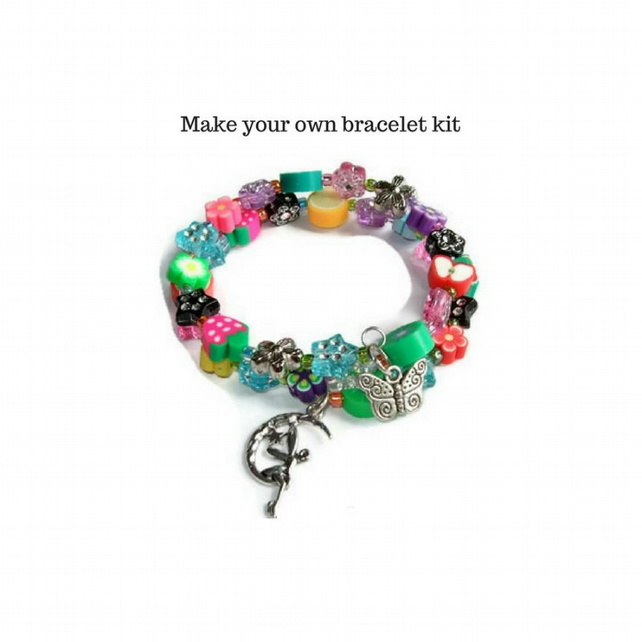 Bracelet kit with memory wire and multi coloured beads and charm dangles.