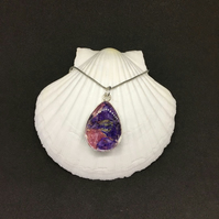 Dried flower petal teardrop necklace with real flower petals.
