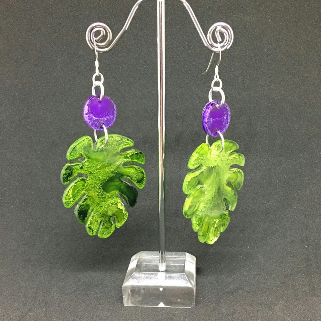 Leaf dangle statement earrings green and purple, Sterling silver.