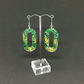 Green and gold glitter dangle earrings on sterling silver.