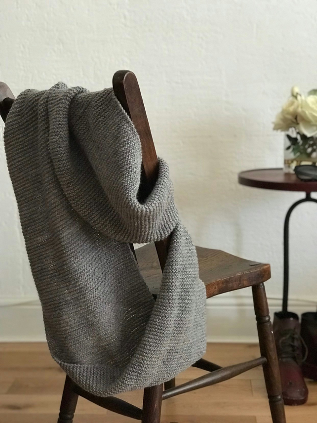 afdea38efd8 Circular scarf.Hand knitted natural soft wool. Hooded scarf. Neck warmer,  wrap.