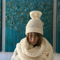 Set of woollen hand knitted Back Tie Slouchy Beanie hat and Circular Loopy Scarf