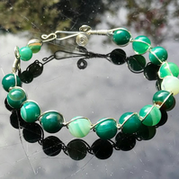 Green Banded Agate Wire Wrapped Copper Bangle