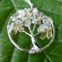 Citrine Tree of Life Pendant Necklace on 925 Sterling Silver Chain, Pagan Gift