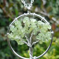 Peridot Tree of Life Pendant Necklace on 925 Sterling Silver Chain Pagan gift