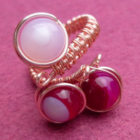 Red Agate Adjustable Ring, Semi Precious Ring, Gift for Mum, Gift for Friend