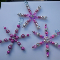 Set of three Beaded Pink Snowflake Christmas Decoration, Present for friend