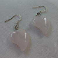Rose Quartz Semi Precious Love Heart Earrings, Gift for Girlfriend, Mum, BF Gift