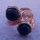 Lapis Lazuli Wire Wrapped Ladies Adjustable Semi Precious Ring