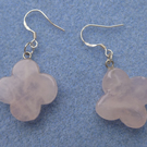 Rose Quartz Four Leaf Clover 925 Sterling Silver Earrings