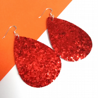 Red Sparkling Sequin Earrings