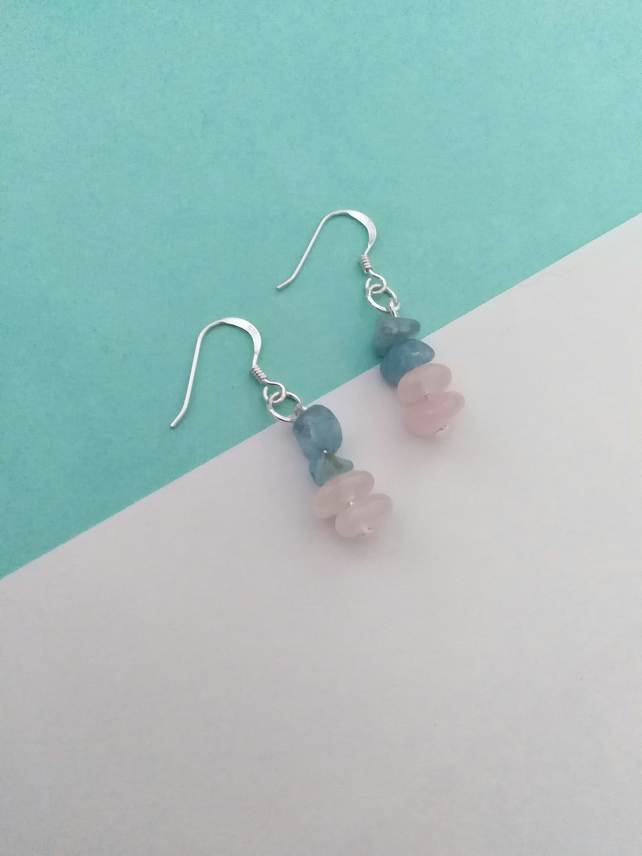 Rose Quartz and Aquamarine Beaded Earrings