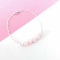 Rose Quartz Bracelet, Sterling Silver Bracelet, Rose Quartz Pink, Gemstone, Blus