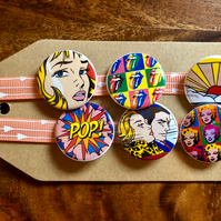 Pop Art - Pin Badge Set or Magnet Set