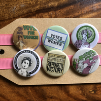 Suffragettes Votes For Women - Pin Badge Set or Magnet Set