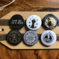 Witch - Pin Badge Set or Magnet Set