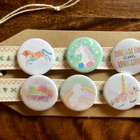 Unicorn - Pin Badge Set or Magnet Set