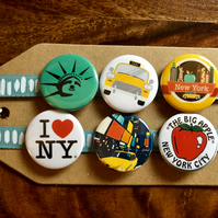 New York City - Pin Badge Set or Magnet Set