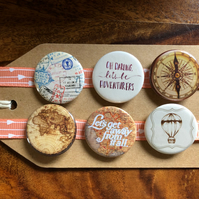 Vintage Travel - Pin Badge Set or Magnet Set
