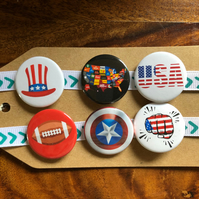 USA - Pin Badge Set or Magnet Set