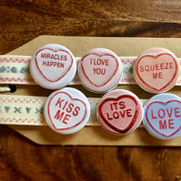 Love Hearts - Pin Badge Set or Magnet Set