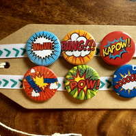 Comic Book - Pin Badge Set or Magnet Set