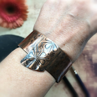 Flower bangle, Flower bangle bracelet, Flower cuff bracelet, Copper bangle