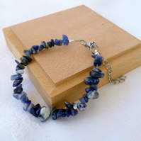 Rich blue Sodalite chip bracelet with extension chain. Anti anxiety jewellery
