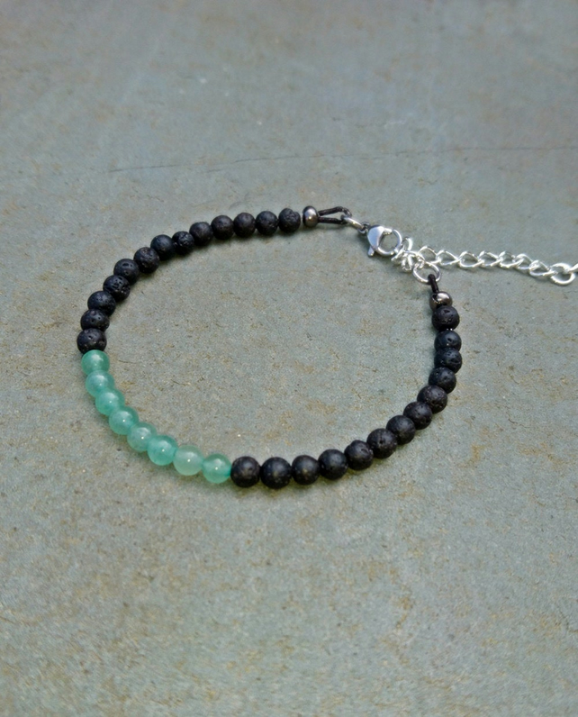 Green Aventurine and Black lava bead adjustable bracelet, delicate natural stone