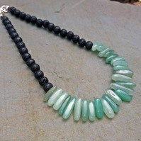 Green aventurine spike bead necklace, boho gemstone and lava beads,