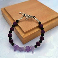 Lava bead and Amethyst birthstone bracelet.Essential oil diffuser bracelet