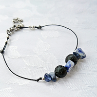 Adjustable lava bead layering bracelet, bohemian sodalite gemstone jewellery,