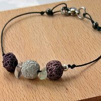 Minimalist lava bead bracelet, Delicate adjustable with brown and white beads,