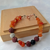 Bright  lava bead bracelet with carnelian chips, adjustable with extension chain