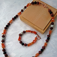 Gypsy style necklace and bracelet set, carnelian chips and lava beads