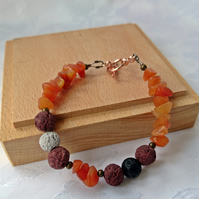 Carnelian gemstone bracelet with lava beads, ladies summer jewellery.