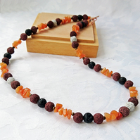 Carnelian gemstone and lava bead necklace, Rustic bohemian bright necklace,