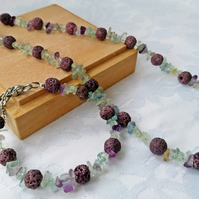 Boho chic jewellery set, fluorite and lava stone necklace and bracelet.