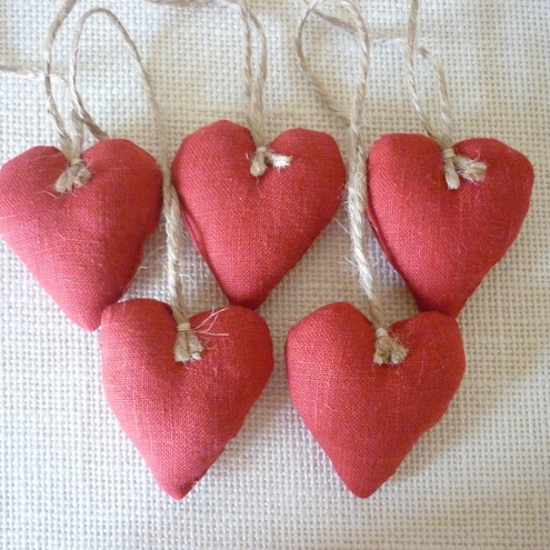 5 Mini Red Fabric Hearts,Valentine
