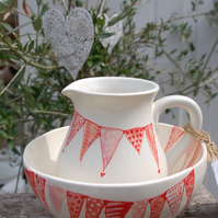 jug and bowl - love bunting
